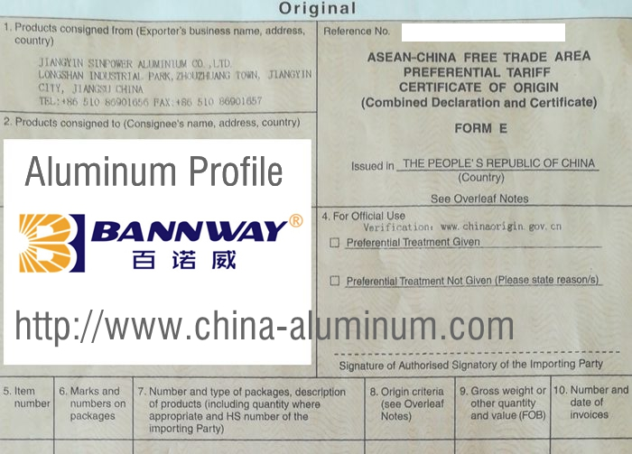Certificate of Origin for Aluminum Profiles China